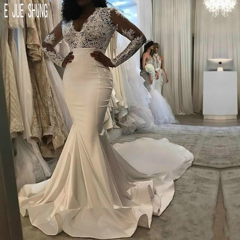 E JUE SHUNG New Stain Mermaid Wedding Dresses V Neck Long Sleeves Lace Appliques African Beach Bridal Gowns Vestidos De Noiva