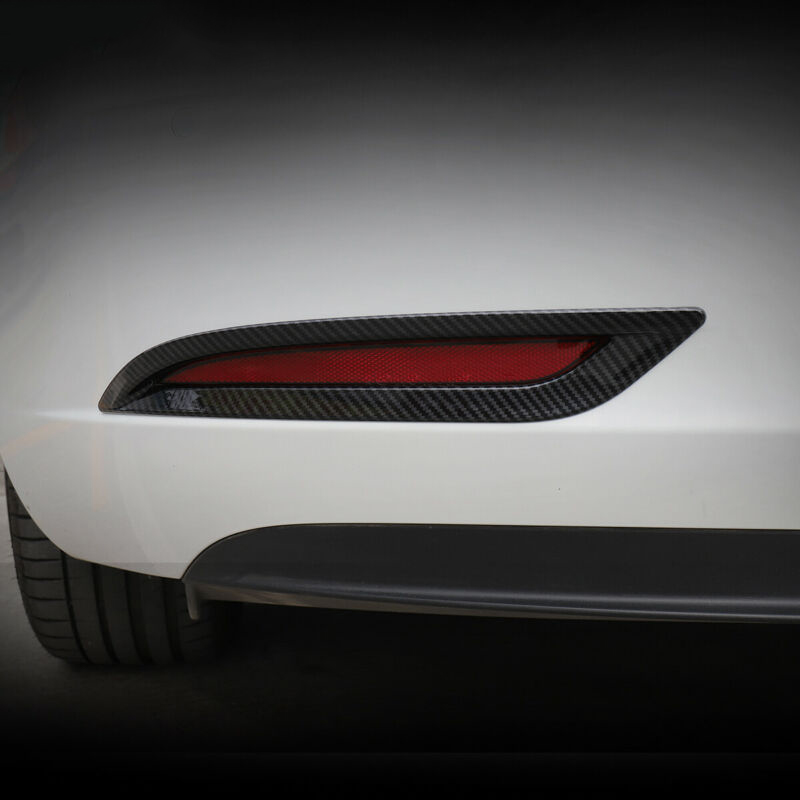 1pair Black Plastic Rear Tail Fog Light Lamp Cover Trim ABS Fog Light Cover Trim scratch resistant For Tesla Model 3 2018 2019 in Truck Light System from Automobiles Motorcycles