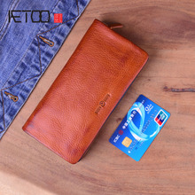 AETOO Genuine Leather Original Handmade Men Wallet Wrinkle Soft Mens Retro zipper Long Clutch Purse Male