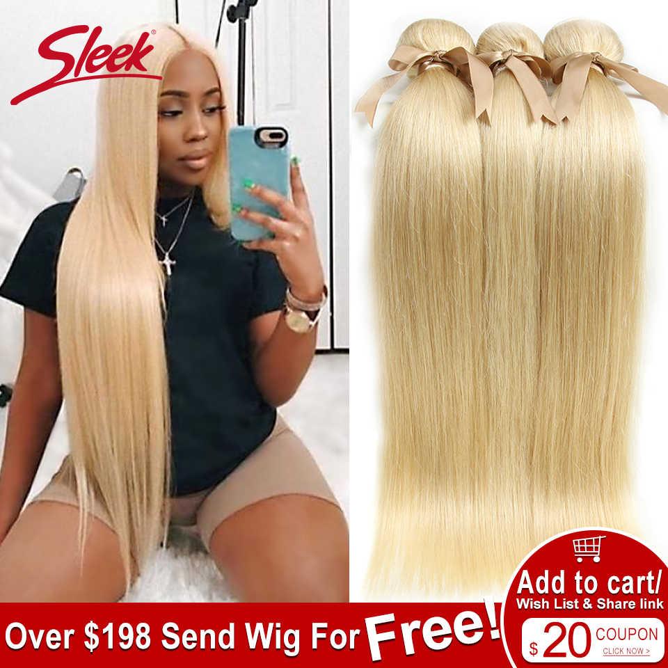 מלוטש 613 דבש בלונד חבילות ישר שיער ברזילאי שיער Weave חבילות 100% ישר רמי שיער הרחבות 10 כדי 26 סנטימטרים