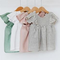 Детские платья из хлопка милое летнее платье для девочек платье принцессы 1st на день рождения вечерние Для 0-3Years для девочек; Детская одежда ...