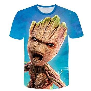 Boys Cartoon Baby Groot Print T-shirts Girls Casual 3D Funny Tshirts Children Summer Short Sleeve Clothing Kids Tee Tops 1
