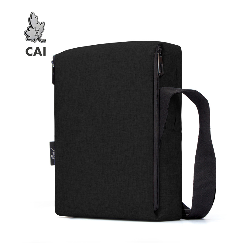 CAI 32cm Classic Messenger Shoulder Bag For Office Men Flap Briefcase Waterproof Anti-Theft Zipper Mini Crossbody Bags Handbag