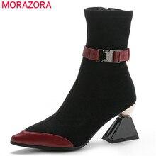 MORAZORA 2020 yeni varış hakiki deri ayakkabı kadın yarım çizmeler benzersiz yüksek topuklu çizmeler sonbahar parti elbise ayakkabı kadın