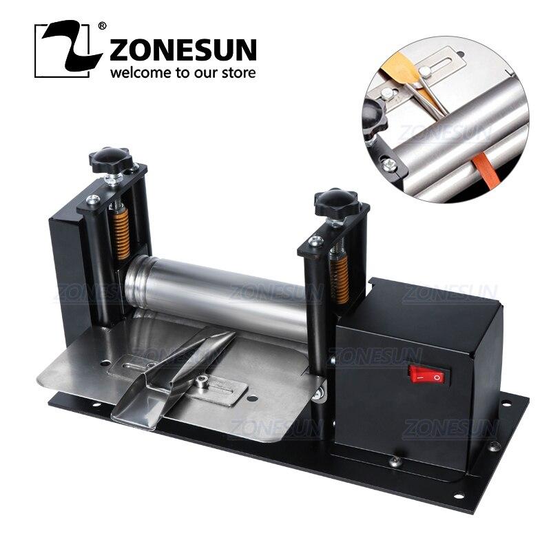 ZONESUN ручная машина для прокатки кожаных ремней, Складная машина для ламинирования кожаных ремней, запечатывания краев