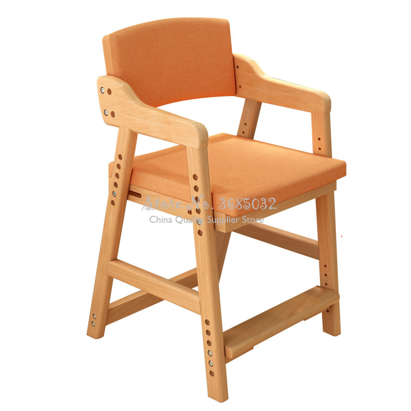 Solid Wood Children's Chair Adjustable Height  Household  Students Learn Chair With Removable Linen Cloth Seat