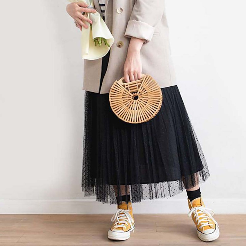 Women Novel Round Rattan Bamboo Bag Handwoven Bali Handbags Handmade Bamboo Tote Bag (With Scarf)