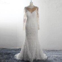 RSW1578 Bridal Dress Lange Mouwen Hoge Necklin Illusion Terug Parels Kralen Mermaid Bruidsjurken