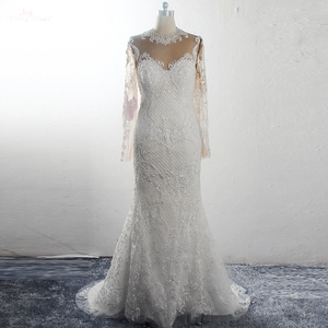 Image 1 - RSW1578 Bridal Dress Long Sleeves High Necklin Illusion Back Pearls Beaded Mermaid Wedding Gowns