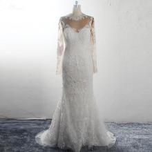 RSW1578 robe de mariée manches longues col haut Illusion dos perles perlées robes de mariée sirène