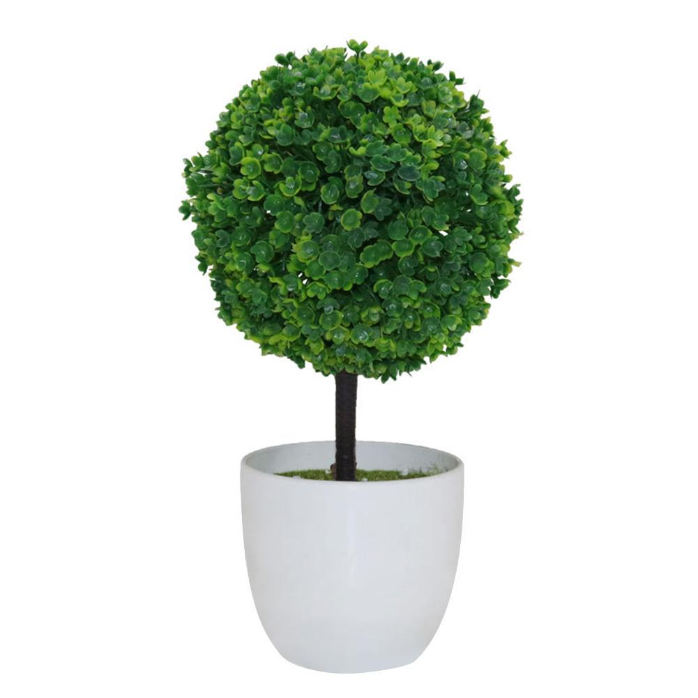 Artificial Potted Ornament Topiary Ball Shape Bonsai Small Tree
