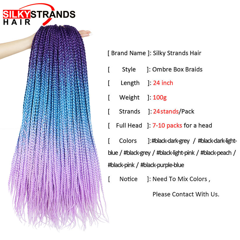 19 Color Ombre Box Crochet Hair Braids 24 Inch Zizi Braiding Hair Pre Stretched Kanekalon Synthetic Hair Extension For Braids