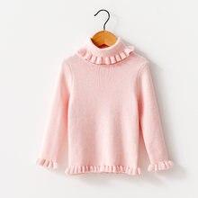 Вязаный пуловер с кружевным воротником; Свитер для девочек;