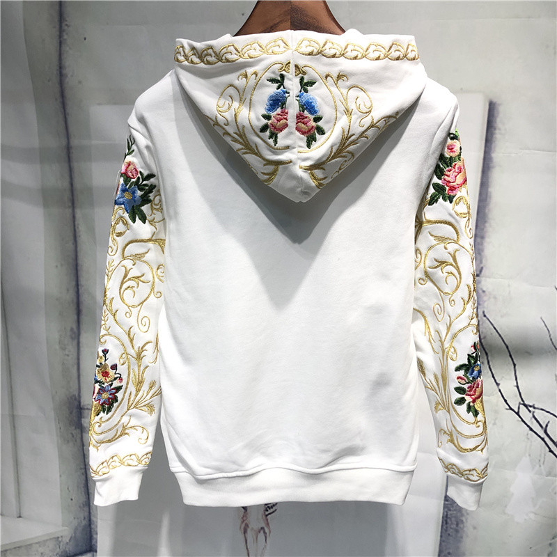 mens luxury golden embroidery flower hooded sweater/white/black hoodies/pullover 4