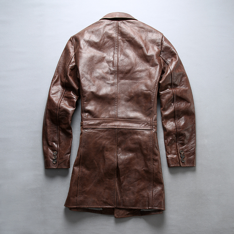 FLY Fashion Genuine Men Brown Slim Fit Long Real Leather Coat Cowskin Turn-down Collar Men' Jacket