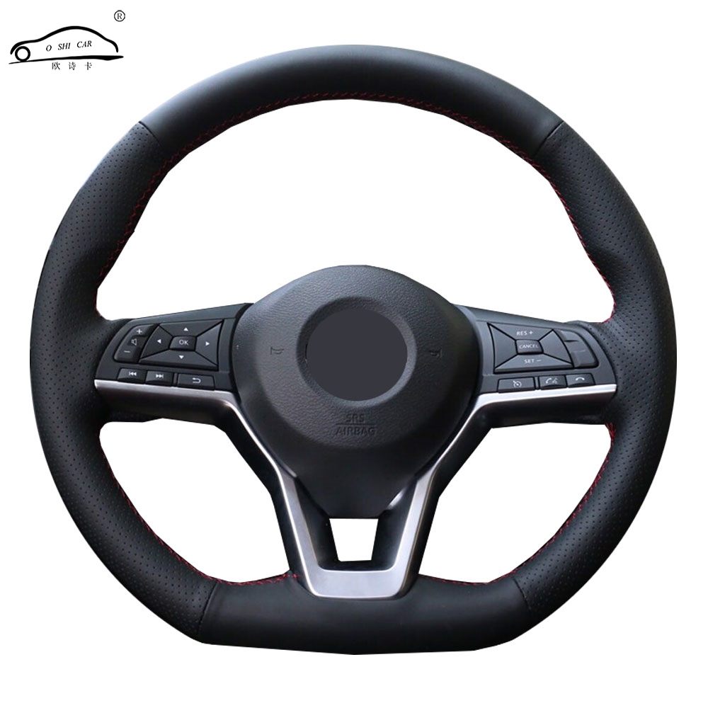 Steering wheel cover for Nissan X-Trail 2017-2019 Qashqai <font><b>2018</b></font> Rogue (Sport) 2017-2019 Soft Fiber leather Steering wheel cover image