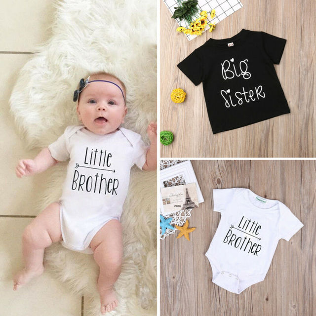 1PCS Family Matching Baby Little Sister Short Sleeve Letters Rompers Bodysuit Big Brother Cotton T-shirt Tops Kids Boys Clothing 1