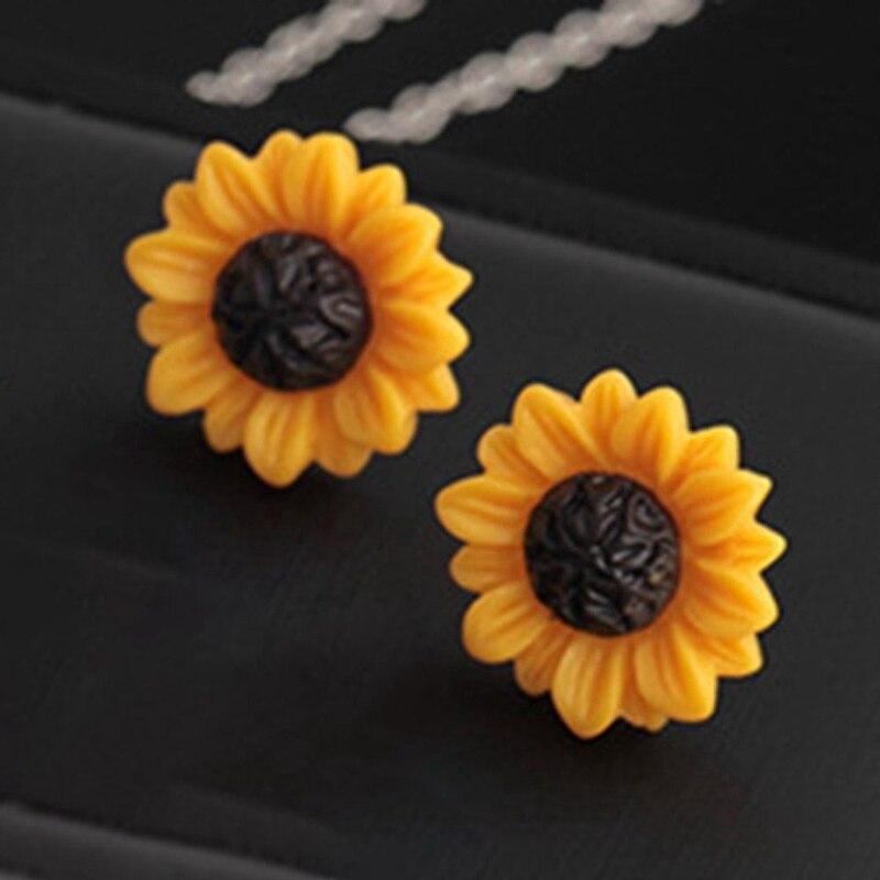 Изысканный Для женщин подсолнечника цветок серьги-гвоздики, серьги, ювелирные изделия, ювелирные изделия, подарки