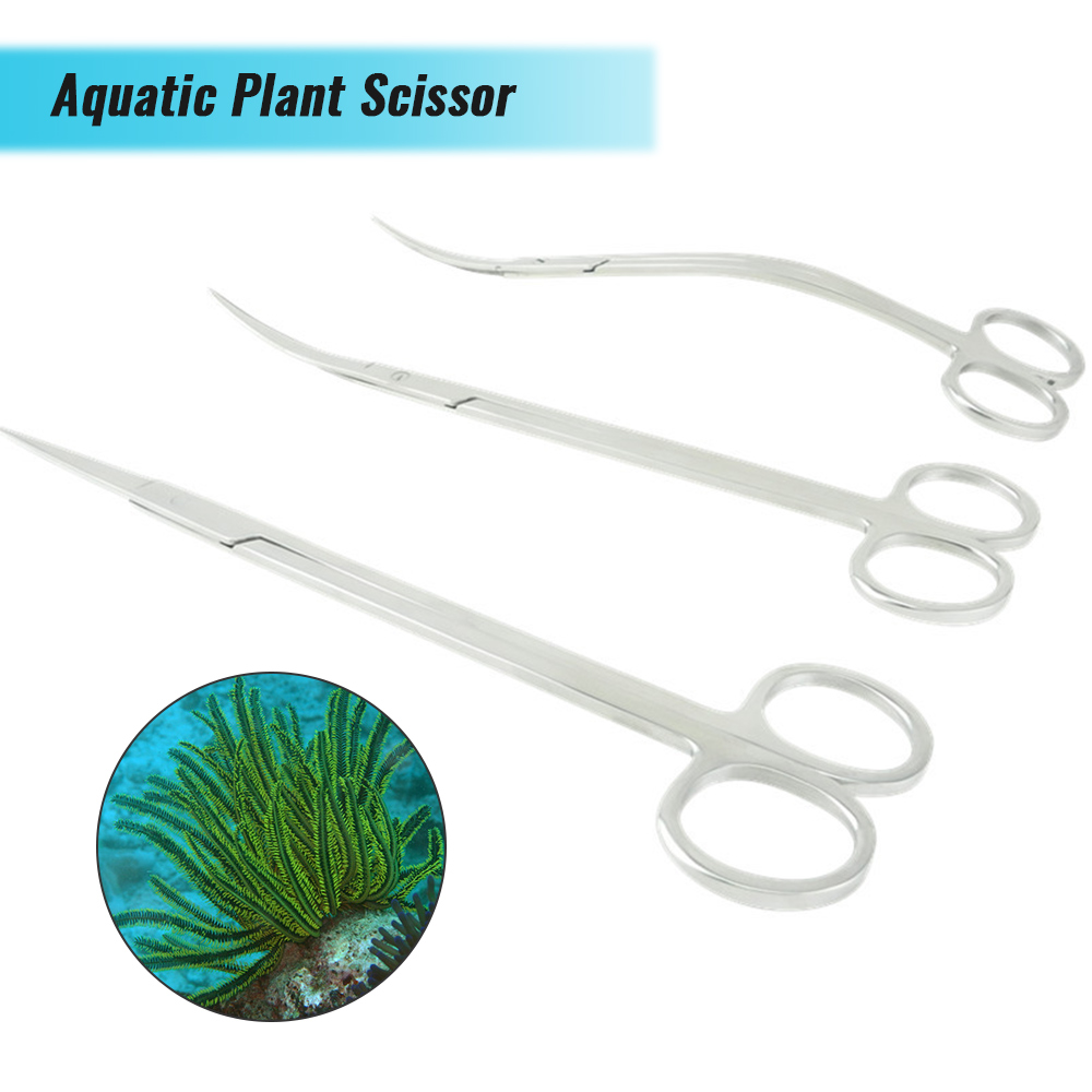 Aquarium Stainless Steel Water Grass Waterweed Clipper Aquotic Tank Plant Wave Scissor Curved Aquarium Tank Plant Clean Cut New