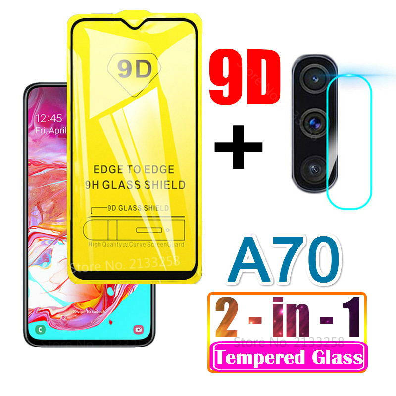 2 In 1 Tempered Glass For Samsung Galaxy A70 2019 Camera Lens Film 9D Screen Protector Protective Film on Galaxy A 70 A70 A705F
