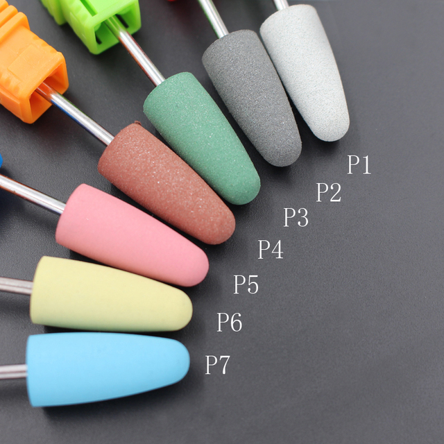 """ASWEINA Universal Series Big Head 7 Colors Rubber&Silicon Carbide Nail Buffer 3/32"""" Electric Manicure Device Nail Accessories"""