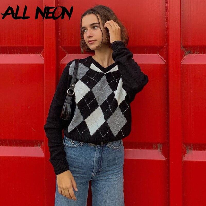 ALLNeon Indie esthétique Argyle Plaid tricoté Y2K pulls Harajuku col en v à manches longues pulls e-fille Vintage Streetwear automne