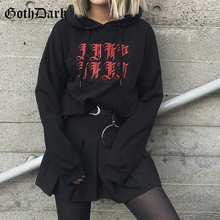 Goth Dark Black Gothic Grunge Punk Female Sweatshirt Harajuku Loose Autumn 2019 Longsleeve Women's Hoodies Aesthetic Loose Chic недорого
