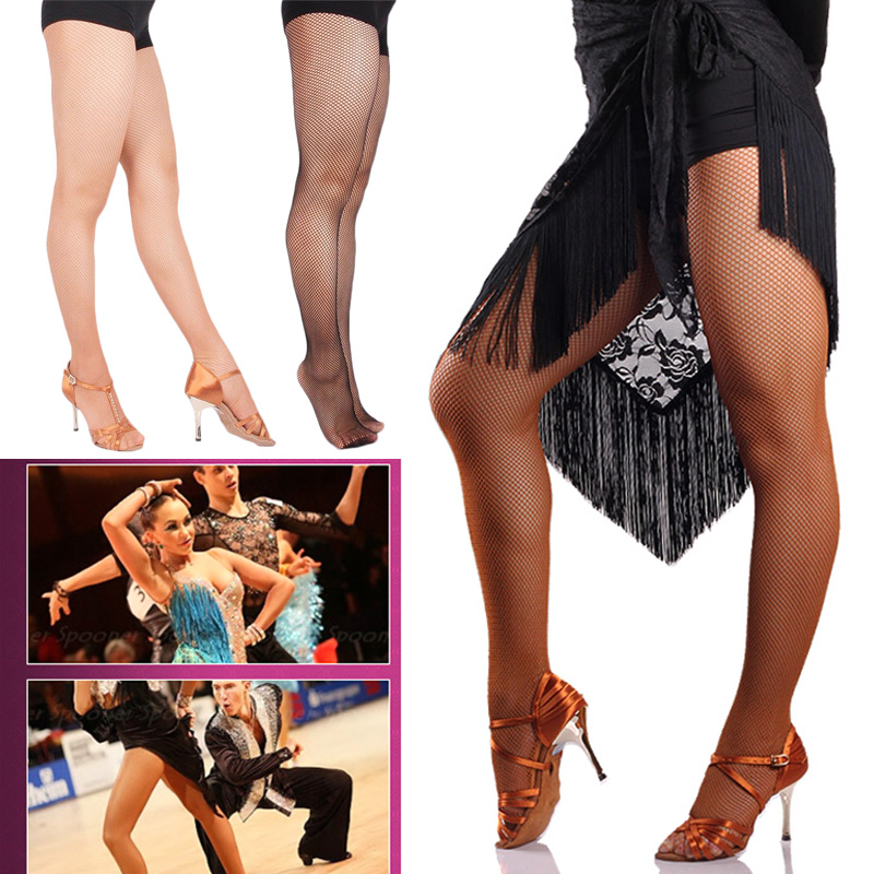 Tights Fishnet Profesional Pantyhose Latin Dance Seemless Solid Color Stockings C55