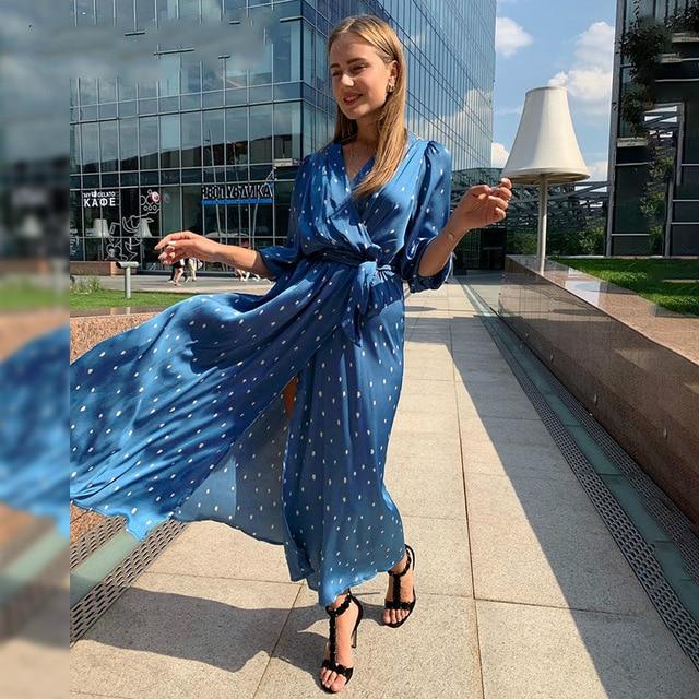 Sexy Deep V Neck Polka Dot Elegant Women's Puff Sleeve Long Evening Dress Blue A Line Chiffon Long Party Dress 2020 Lange Jurk