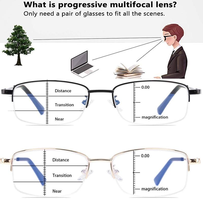 Occhiali da lettura progressivi per Computer Multifocus occhiali da vista per lettori multifocali con cerniera a molla in lega di titanio con blocco della luce blu 1