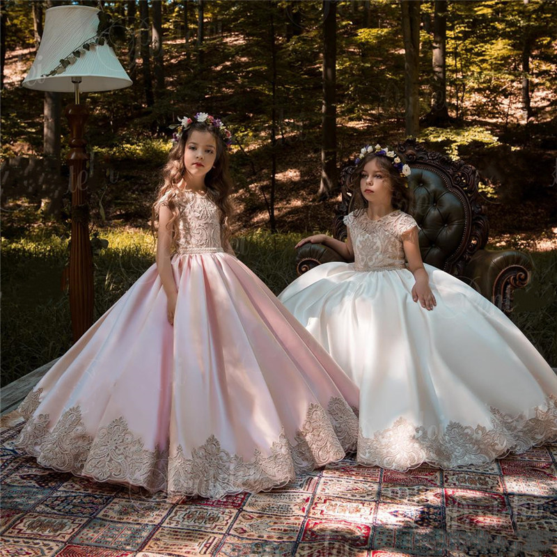 Vintage Pink Princess Flower Girl Dresses With Gold Lace Appliqued Wedding Party Dress Kids Birthday Dresses