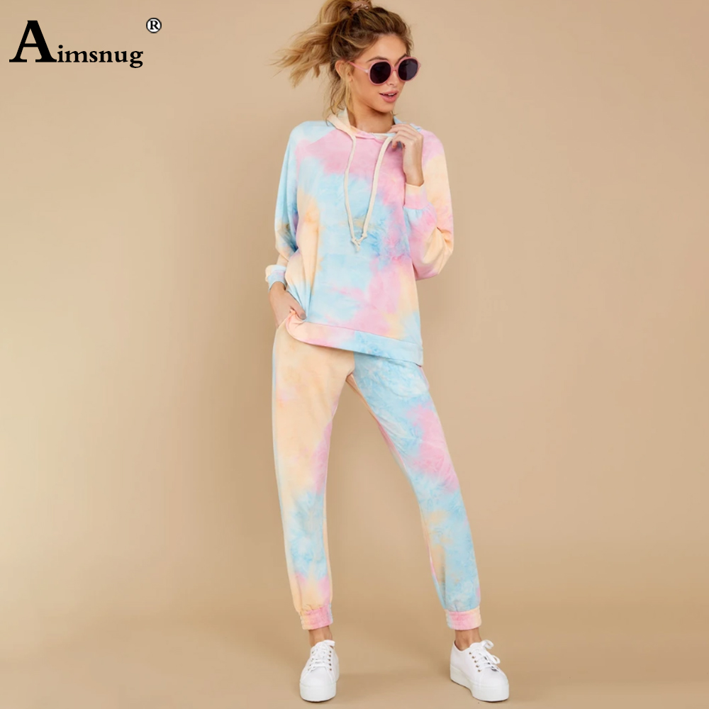 Aimsnug Tie dye Print Slim Hoodies Fitted Sweatshirt Top And Long Pants Set Autumn Long Sleeve Women Hooded Two Piece Outfits