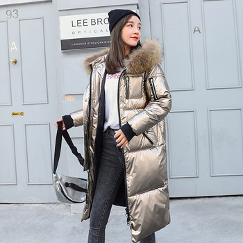 Fashion Winter Women's Long Glossy Big Fur Silver Down Jackets Hooded Coat Down Parkas Thick Winter Jacket Women Outwear