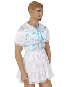 Image 3 - 男性絹のようなサテンベビードール襟パフスリーブ弱虫プリントボディスレースフリルトリミング大人赤ちゃんの恋人クロス Dresse 衣装