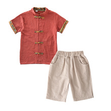 2pcs Kids Line Set Chinese Style Thin Tang Suit Boys Clothes 8 Years Boy Outfits Baby Summer 2-9T Child Clothing
