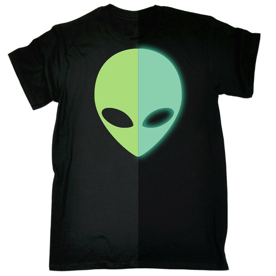 Glow In The Dark Martian Head T-Shirt Space Movie Tv Ufo Sci Fi Gift Birthday Bodybuilding Tee Shirt image