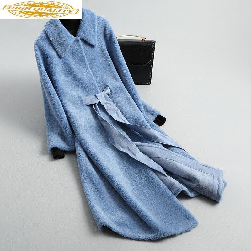 Real Fur Coat Female Sheep Shearling Winter Jacket Women 100% Wool Coat Women Korean Long Jackets Manteau Femme KL-1912