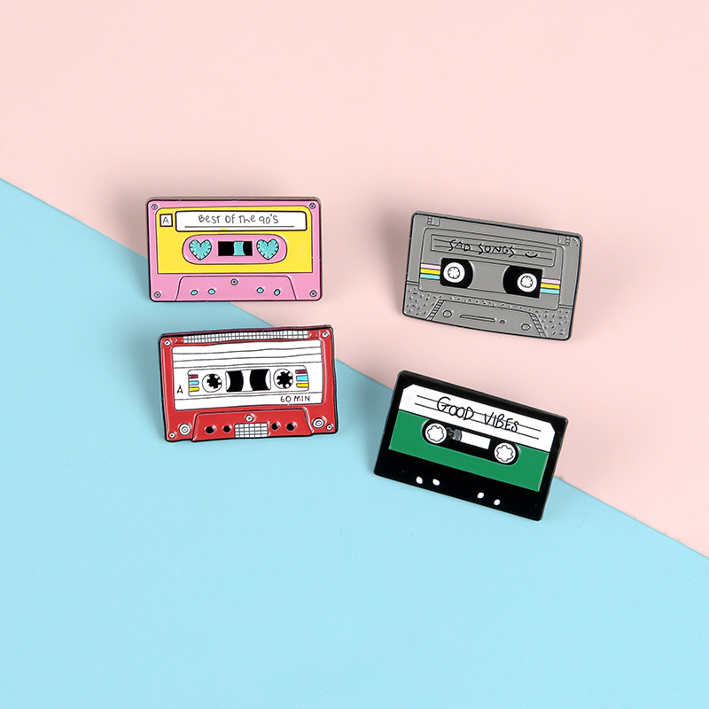 90's Music Tape Enamel Pin Vintage Nostalgic Best Song Brooches Cartoon Backpack Clothes Old-school Badge Jewelry Gift Friends image