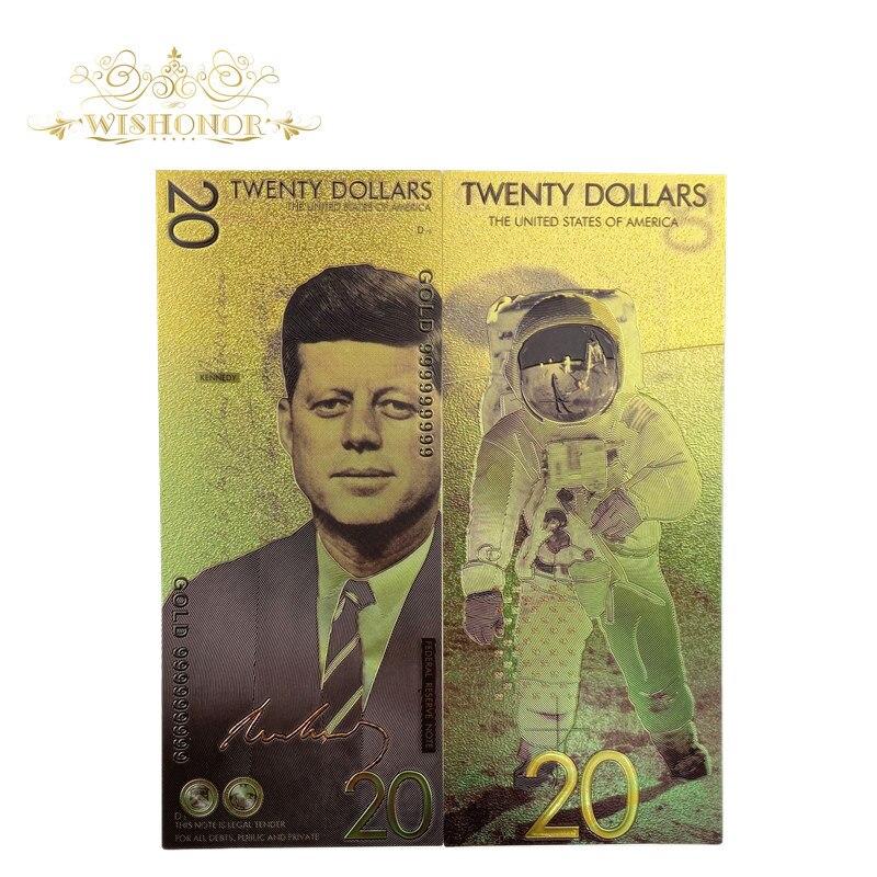Nova américa notas 20 notas de dólar em 24k banhado a ouro dinheiro falso banhado a ouro presente do negócio