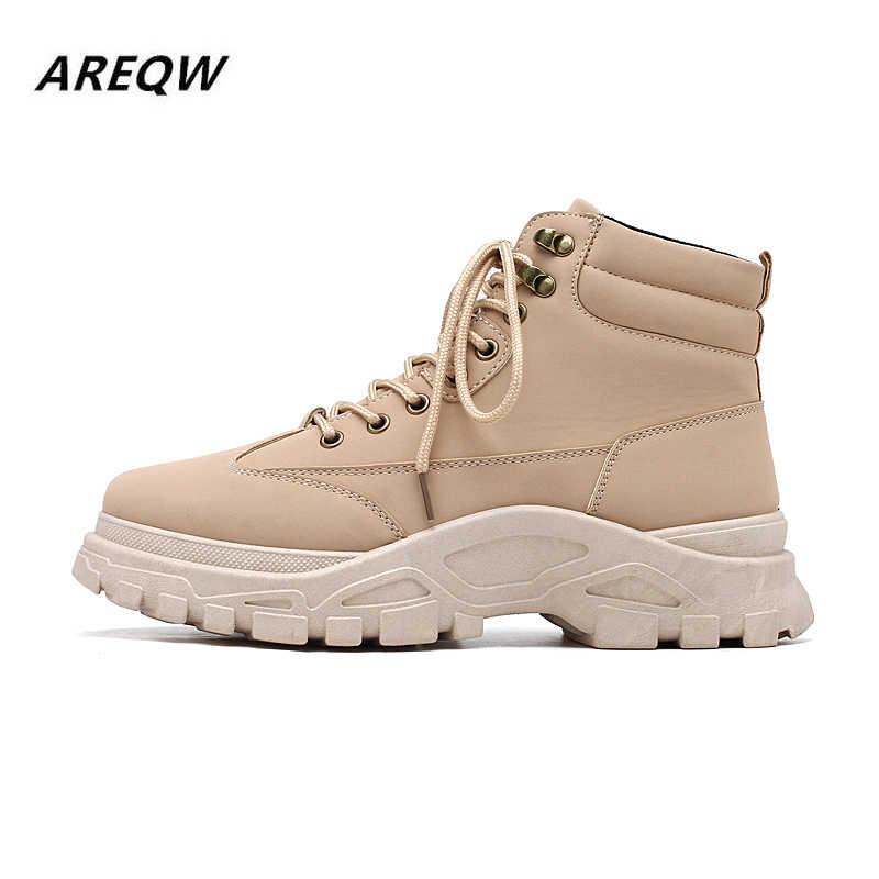 Tendance 2019 hommes couleur unie haut-top ceinture automne et hiver confortable chaussures décontractées Wild Plus velours Martin bottes chaussures pour hommes