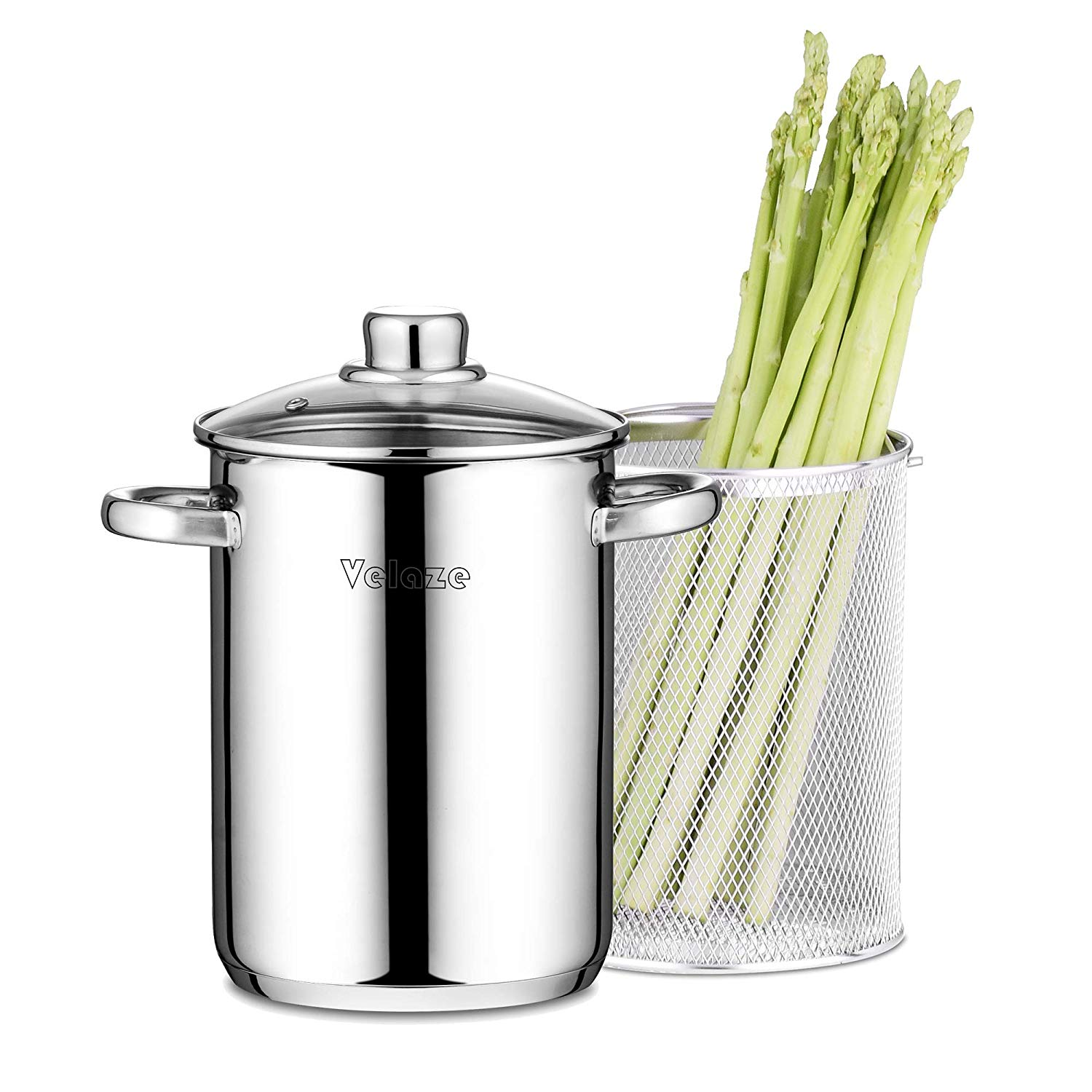 Velaze Asparagus Pot Stainless Steel 4L Vegetable Asparagus Steamer Pot With Basket And Lid Pasta Pot Stovetop Steamer Cooker