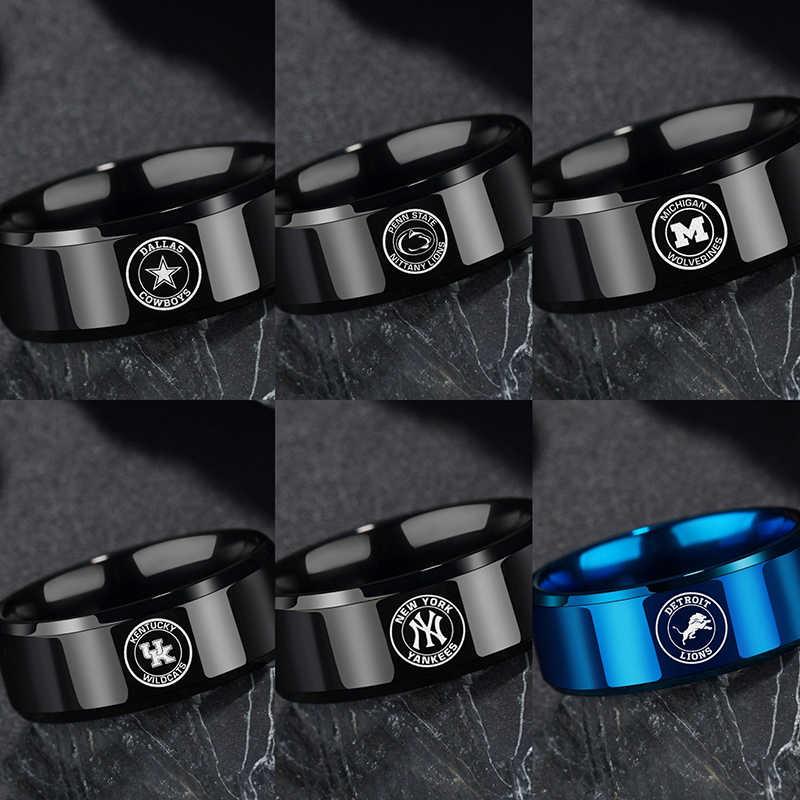 Anillos simples de equipo de Bola negra azul para hombre, vaqueros de acero inoxidable de 8mm