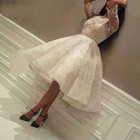Fashion Applique Beading Lace Ball Gown Prom Dresses Simple Pleat Boat Neck Half Sleeve Organza Evening Gown Vestidos De Gala
