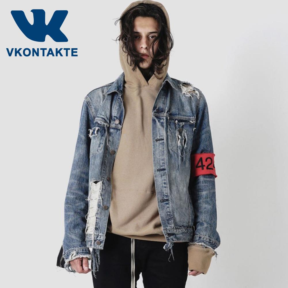 Men Women Zipper Motorcycle Patchwork Ripped Hole Denim Jacket  424 Streetwear Hip Hop Casual Distressed  Jeans Jackets Male