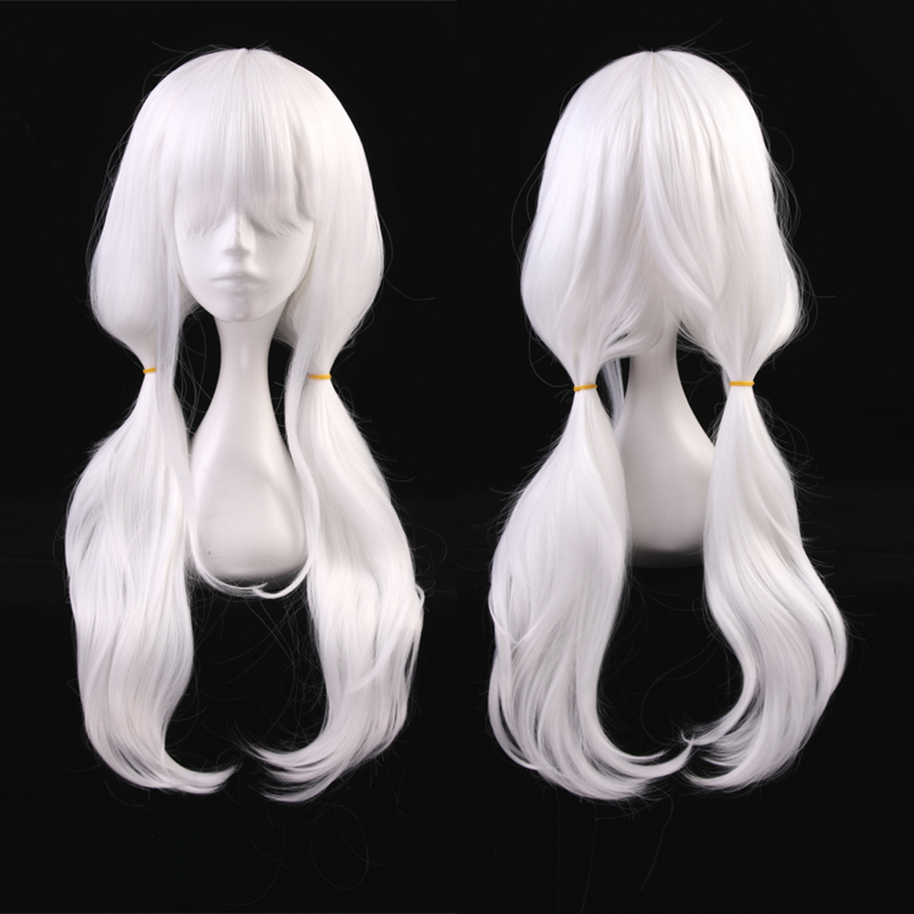 70cm White Wavy Long Synthetic Hair Danganronpa V3 Angie Yonaga Anjii Anime Cosplay Wig +One Cap