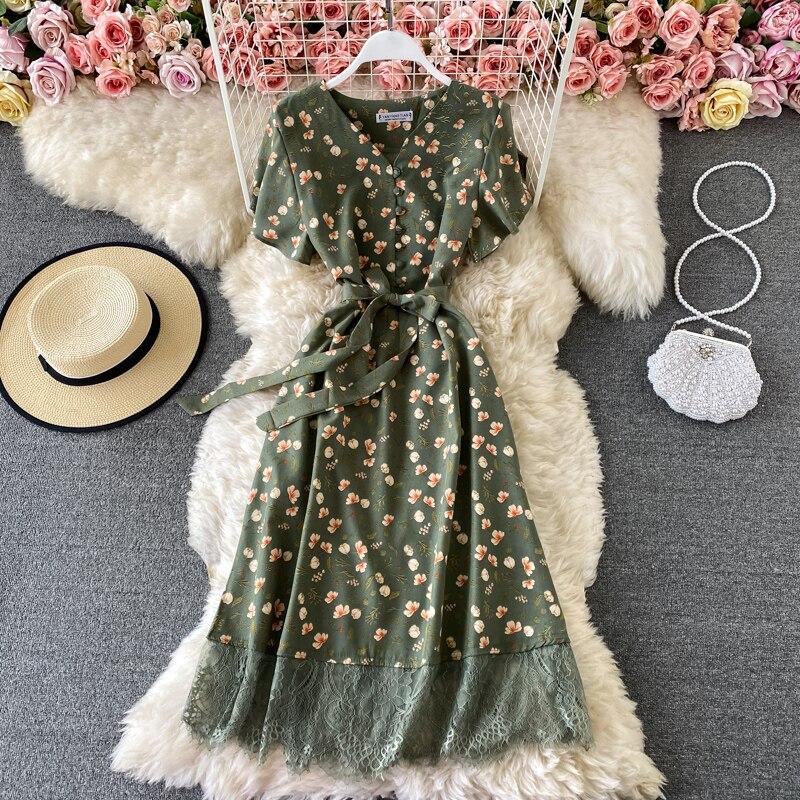 2021 Elegant V Neck Floral Print Chiffon Dress Summer Short sleeve Bandage Slim Lace Stitching Women Mid-calf Dress