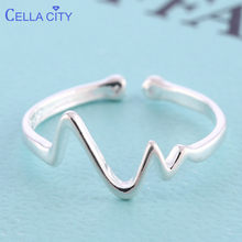 Cellacity Trendy Silver 925 Jewelry Ring for Women Simple Wave shaped Lines Adjustable Opening Female Accessory Dating Gift(China)