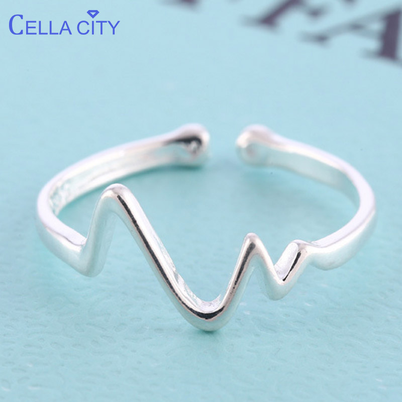 Cellacity Trendy Silver 925 Jewelry Ring for Women Simple Wave shaped Lines Adjustable Opening Female Accessory Dating Gift