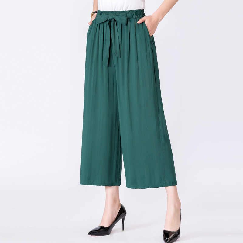 Pantalones Casuales De Pie Grande Salvaje Para Mujer Moda De Verano 2020 Modelos De Explosion De Color Solido 1160 Pantalones Y Pantalones Capri Aliexpress