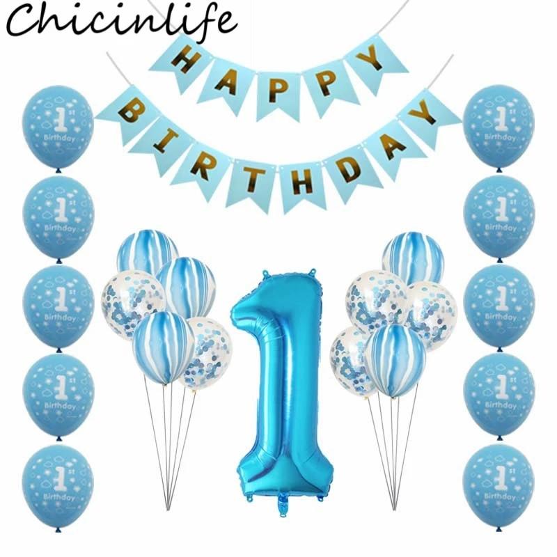 Chicinlife 1st Birthday Balloon Happy Birthday Banner Baby Shower Boy Girl First Birthday Decoration Kids Favors Supplies Banners Streamers Confetti Aliexpress